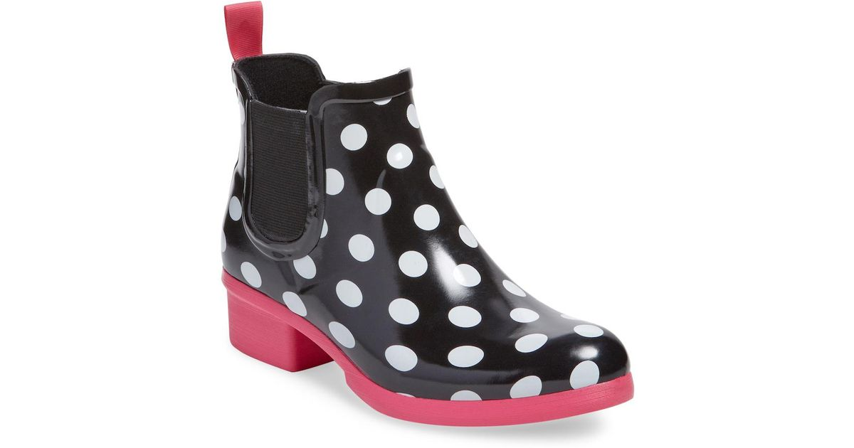 8030716bb589 Lyst - Kate Spade Trudy Polka Dot Rain Boot in Black