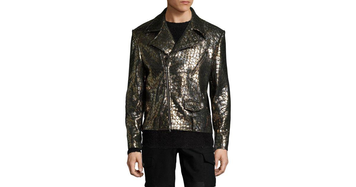 75ebc2dd95acd Miguel Antoinne Leather Printed Biker Jacket in Metallic for Men - Lyst