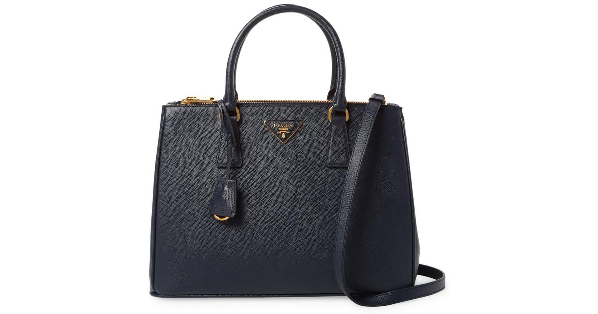 02517ac7e717 ... sale lyst prada galleria double zip medium saffiano leather tote in  black 09b04 ec383