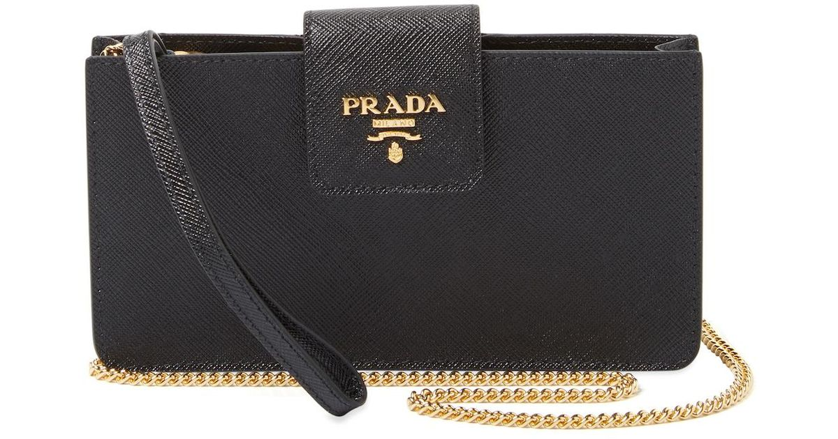 c382081199bb Prada Saffiano Leather Mobile Phone Case in Black - Lyst