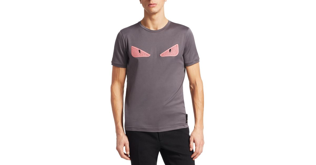 c2ae66d3c04 Lyst - Fendi Cat Eye Embroidery T-shirt in Gray for Men