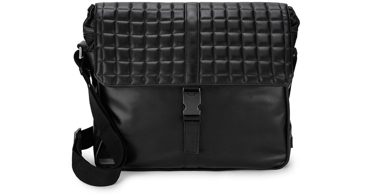 bd7e1fca4c12 Lyst - Emporio Armani Quilted Leather Messenger Bag in Black for Men