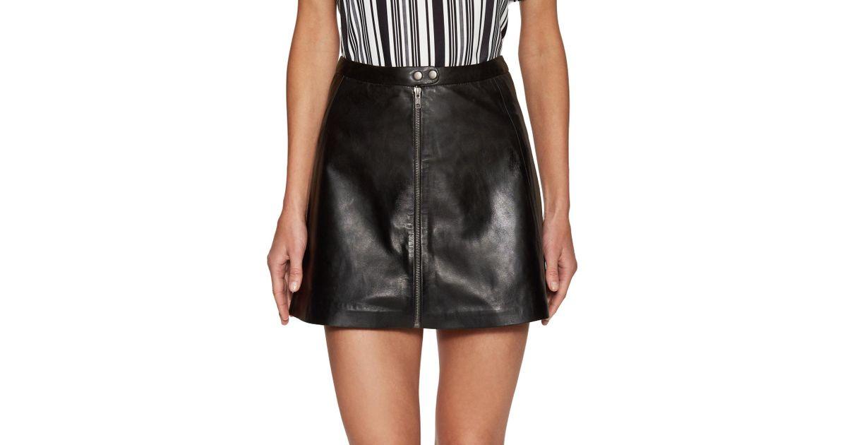 86dd6cc11 Lyst - Muubaa Kalu Leather A Line Skirt in Black