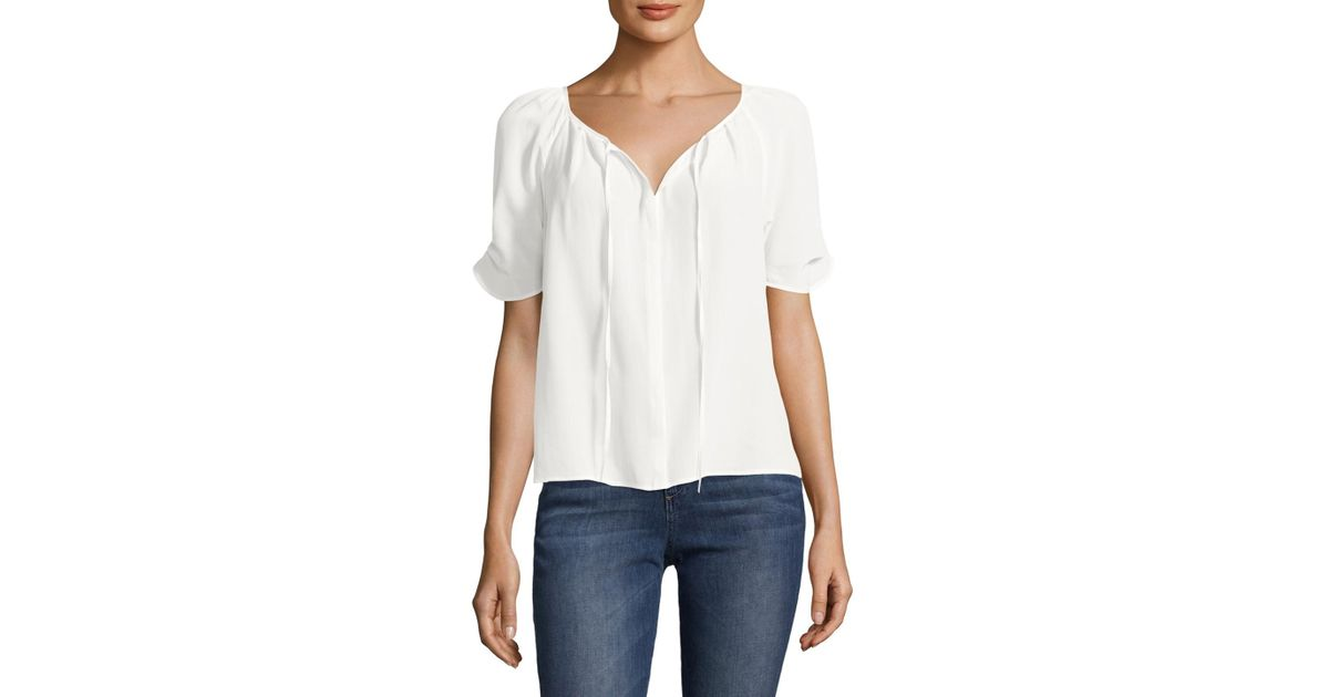 910d052b3271f Lyst - Joie Silk Berkley Keyhole Blouse in White