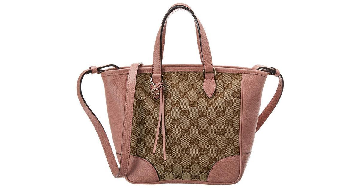 c4e764e5678 Lyst - Gucci Brown GG Canvas   Pink Leather Small Bree Tote in Brown