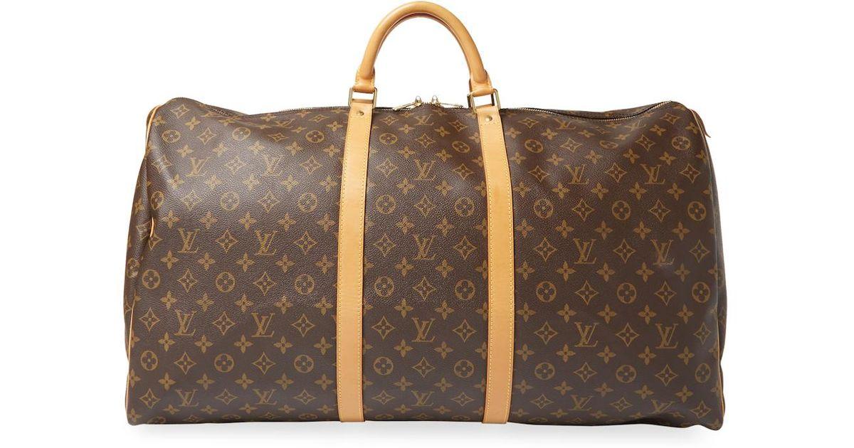 c3d0c6cc52ca Lyst - Louis Vuitton Vintage Leather Keepall 55 Bandouliere Monogram Canvas  Duffel Travel Bag in Brown