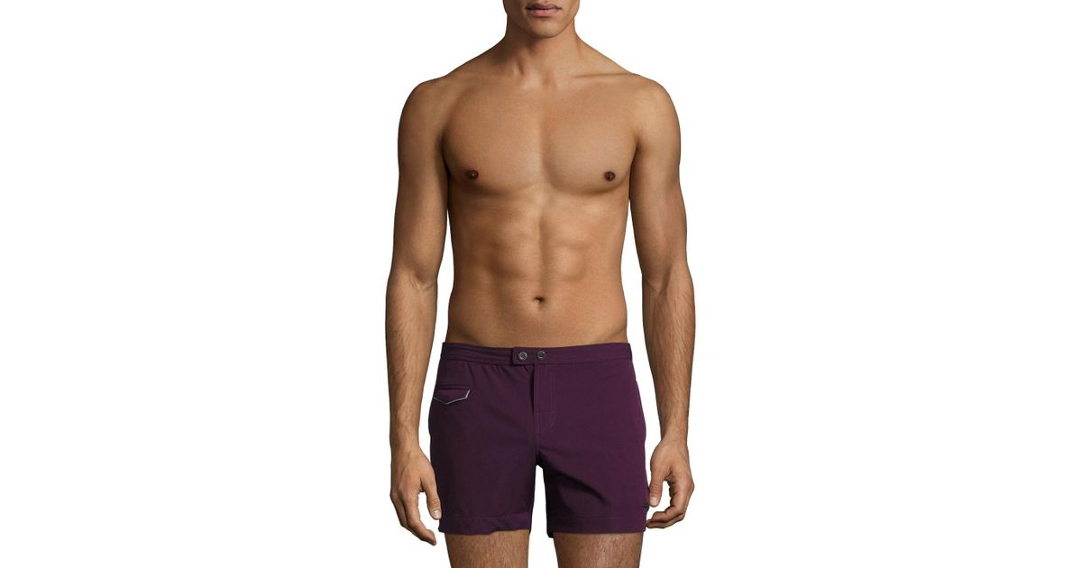 a3f301bf21 Lyst - Parke & Ronen Lido Solid Stretch Swim Trunks in Purple for Men