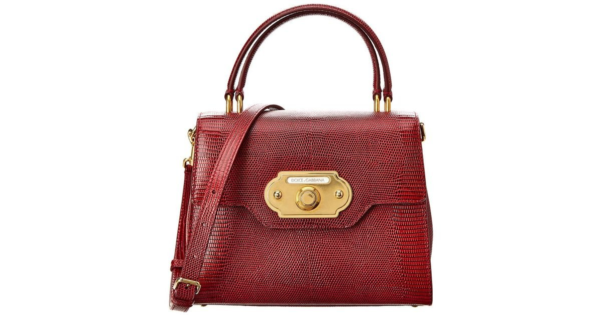 7c60d16c59 Lyst - Dolce   Gabbana Welcome Embossed Leather Satchel in Red