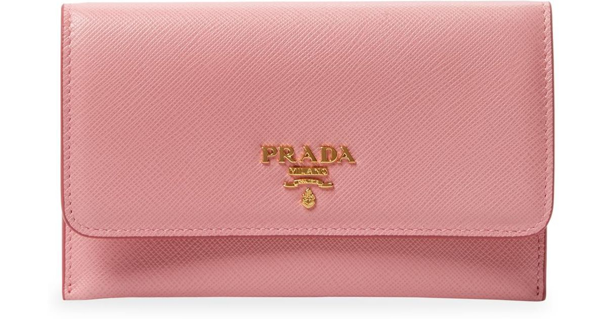 5240bf2c5209 ... official store lyst prada portafoglio leather long wallet in pink 0363f  71de0