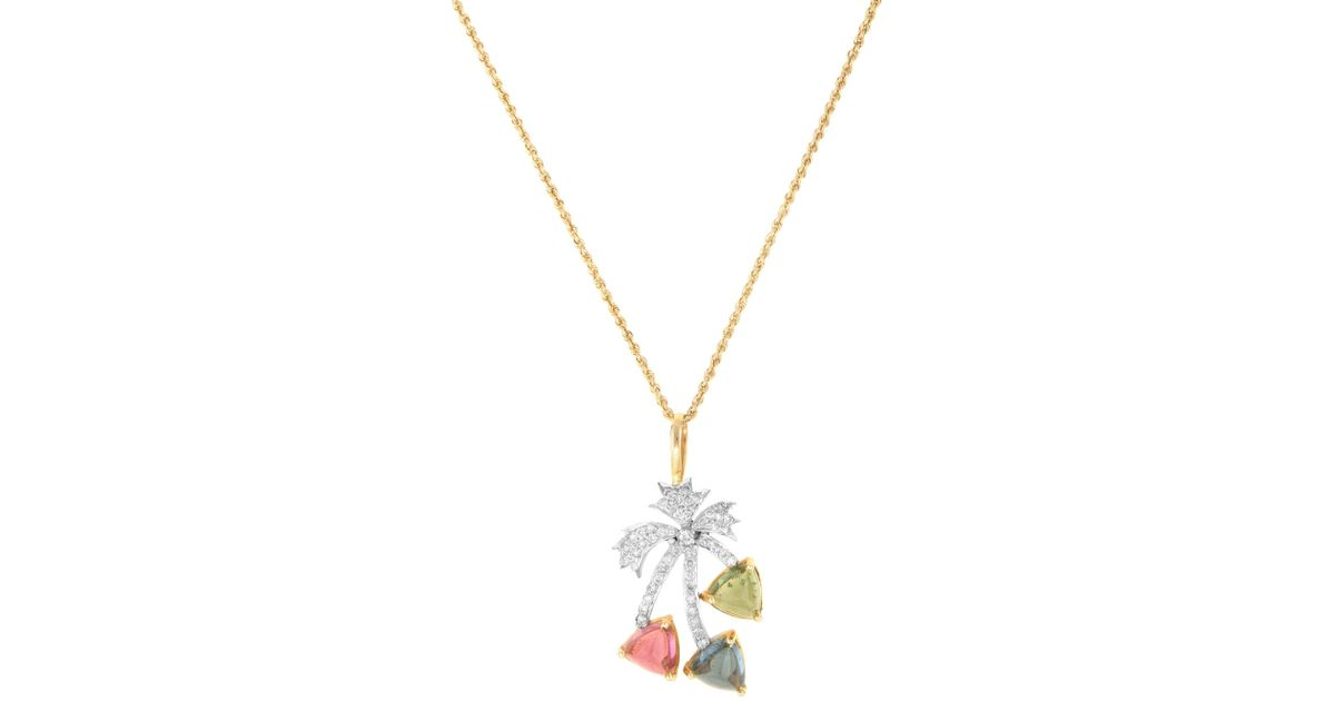Lyst estate fine jewelry estate 14k yellow gold tourmaline 050 lyst estate fine jewelry estate 14k yellow gold tourmaline 050 total ct diamond palm tree pendant necklace in metallic aloadofball Images