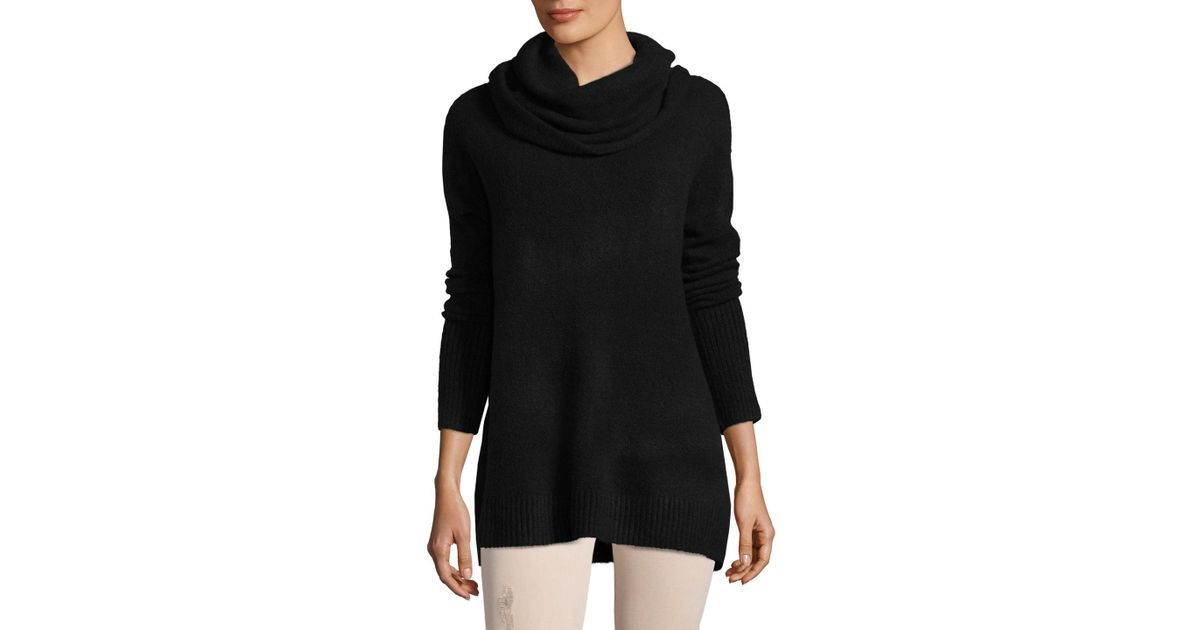 French connection Weekend Flossy Cowlneck Sweater in Black | Lyst