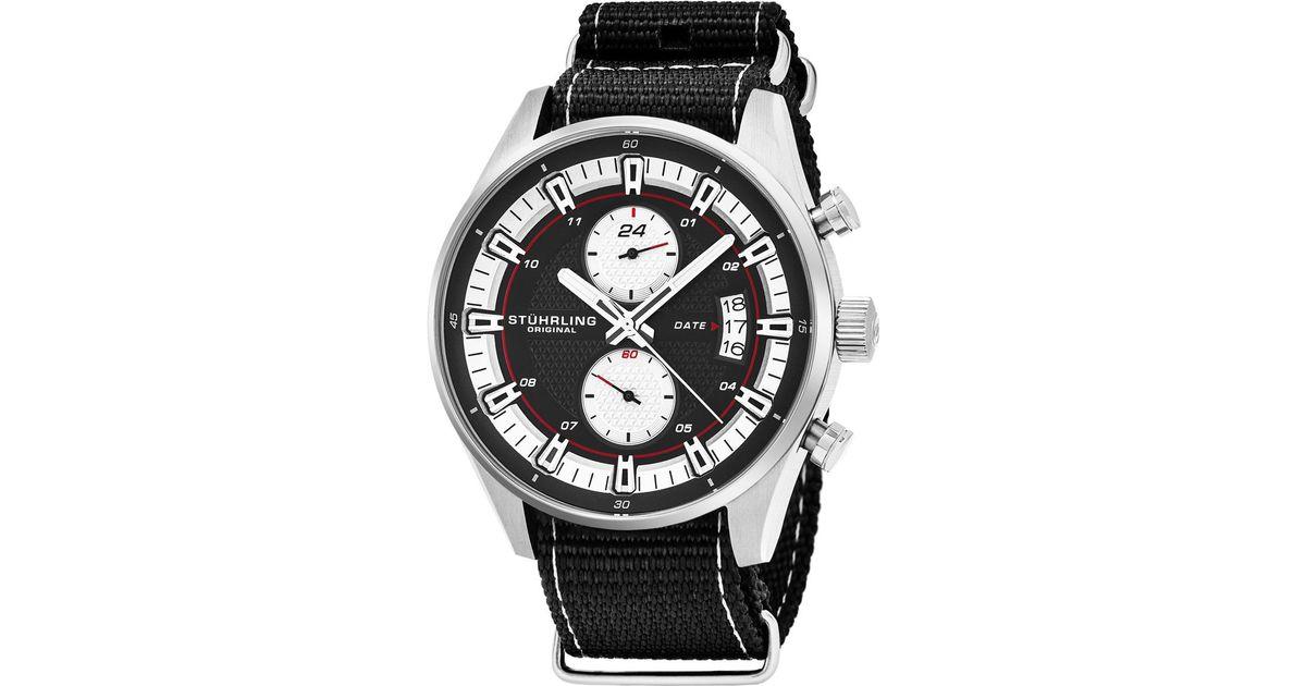 Stuhrling Original Monaco Quartz Date Dual Time Watch 44mm In Black