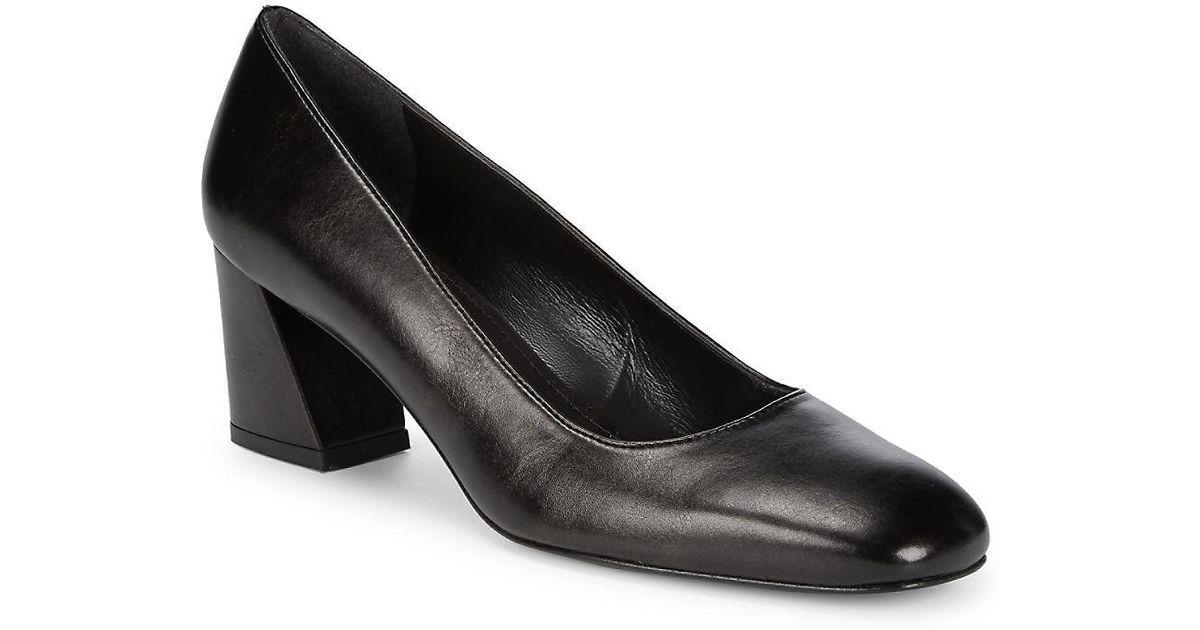 5b40b5f1ff Stuart Weitzman Marymid Leather Block-heel Pumps - Lyst