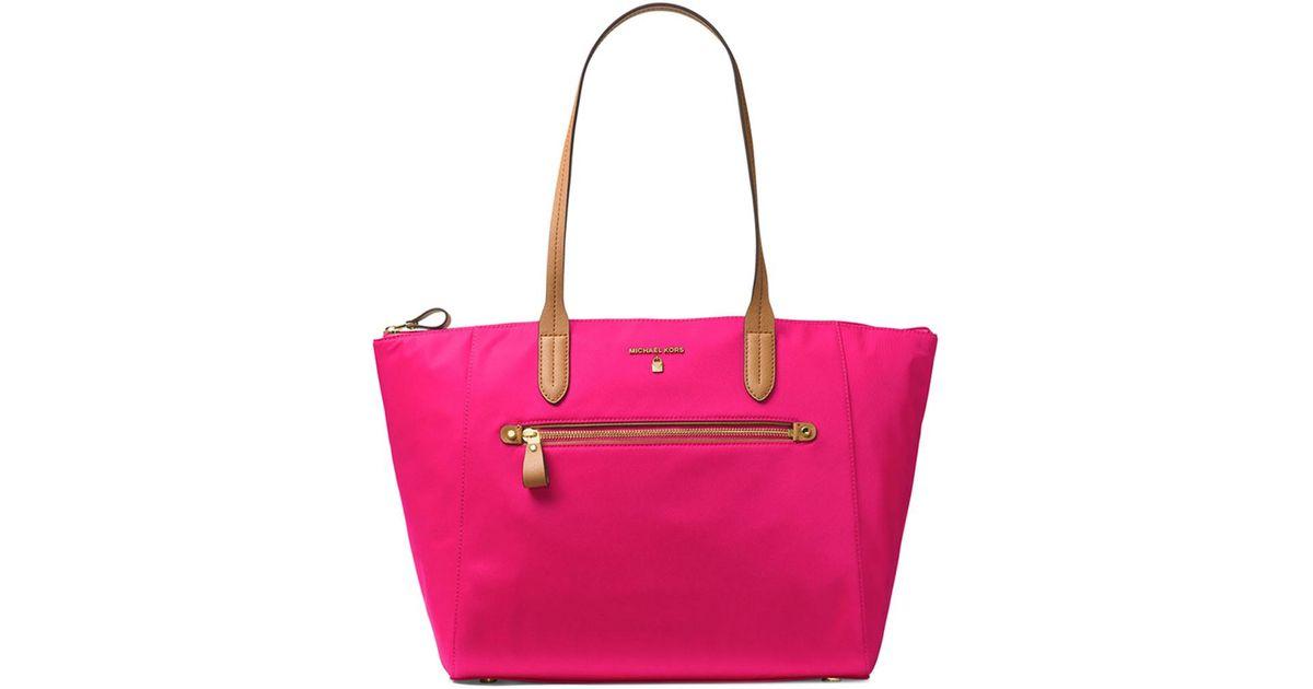 de8d45cfec99 MICHAEL Michael Kors Kelsey Nylon Large Top-zip Tote in Pink - Lyst