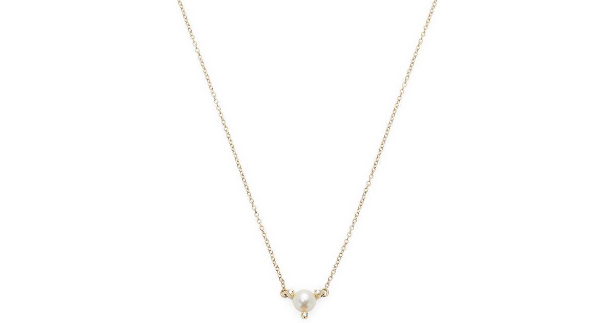 Mizuki 14k Single Petal Pearl Pendant Necklace 2tMG76Npl