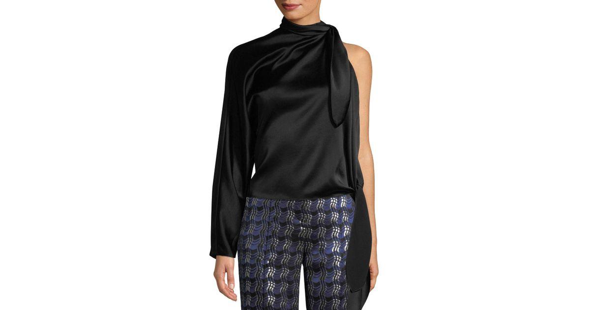 f0a002d67d2 Lyst - Diane von Furstenberg One-shoulder Knotted Blouse in Black