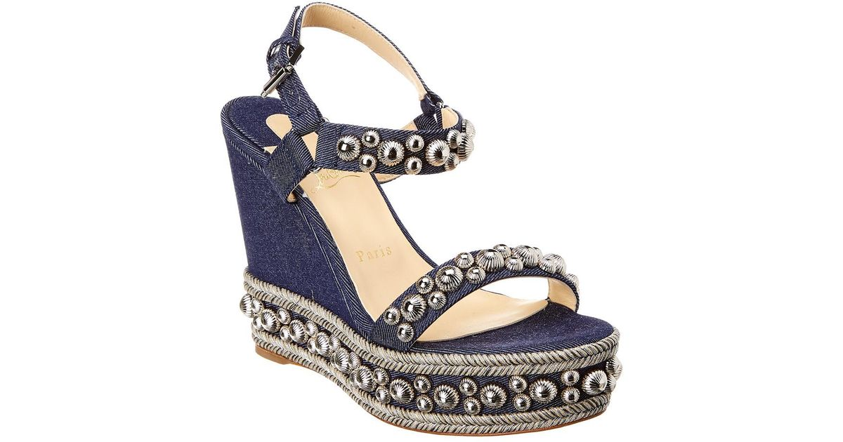851054ac593 Lyst - Christian Louboutin Christain Louboutin Rondaclou 110 Wedge Sandal  in Blue