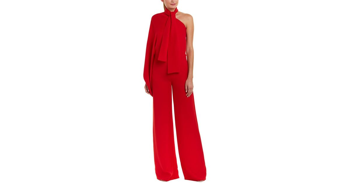 d0f9075d400 Lyst - Valentino One-shoulder Silk Jumpsuit in Red