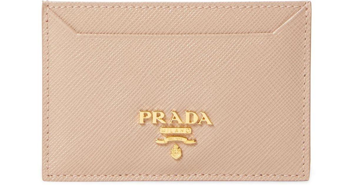 ff1153ac3264 Prada Saffiano Leather Card Holder in Natural - Lyst