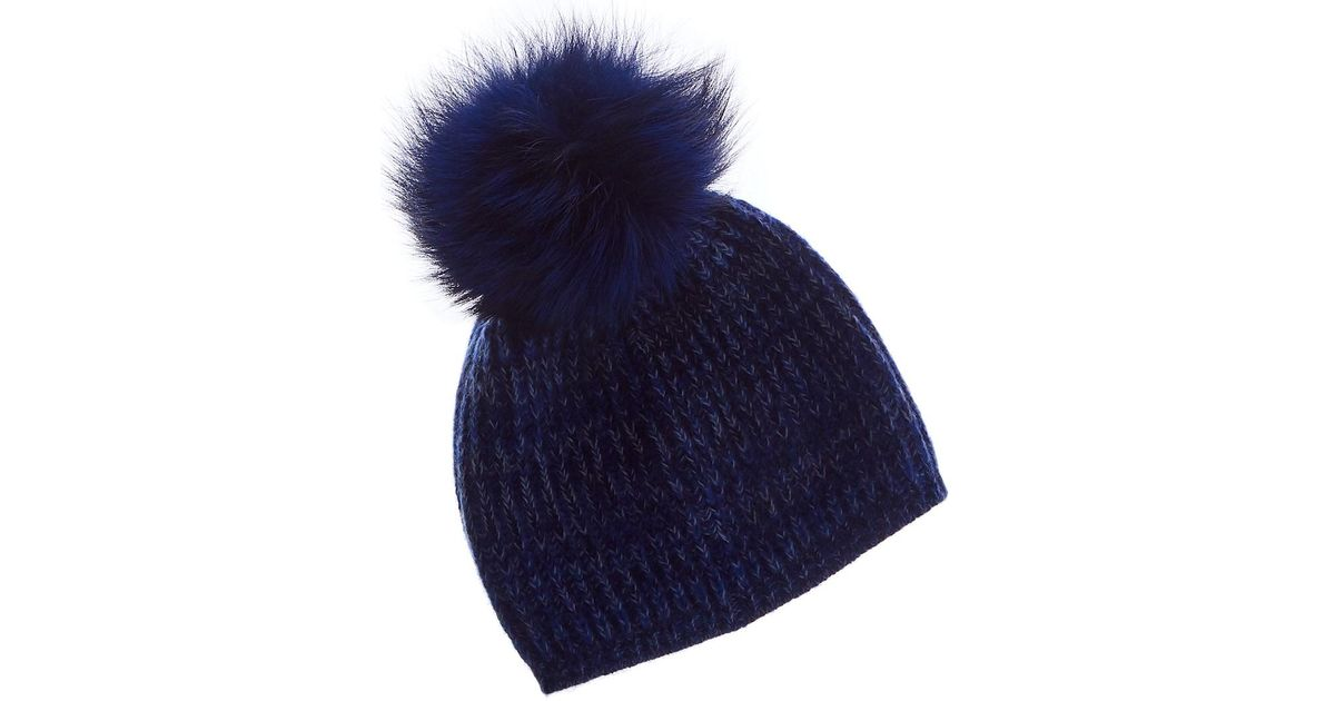 3711d43c6f2db Lyst - Portolano Cashmere Hat With Pom in Blue - Save 18%