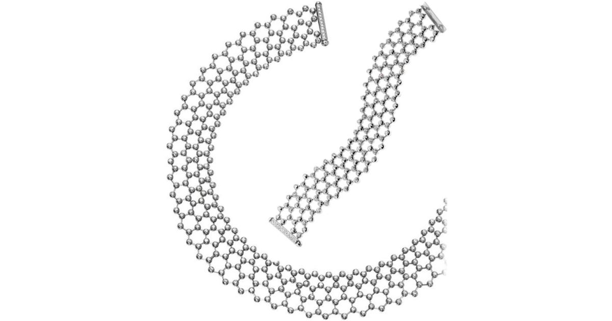 Lyst Cartier 18k 24 70 Ct Tw Diamond Bracelet Necklace Set In Metallic