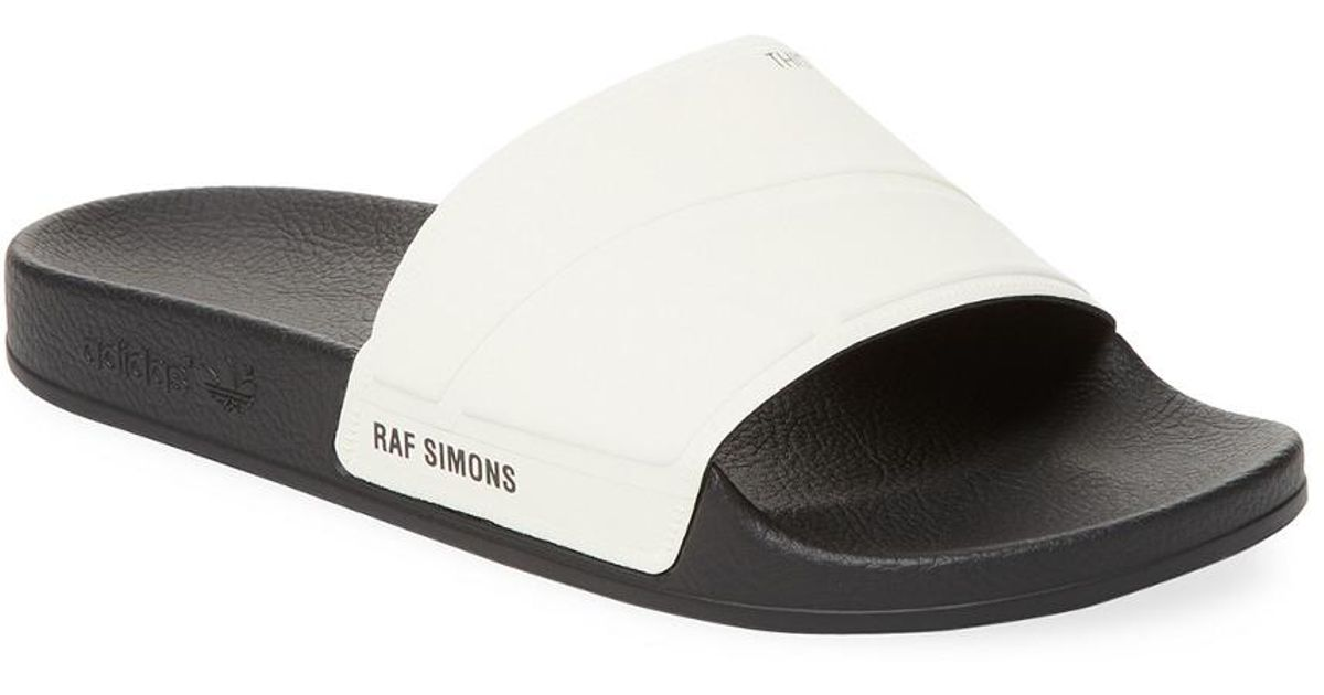 cef49c3b6533 adidas By Raf Simons Adilette Bunny Leather Slides in White for Men - Lyst
