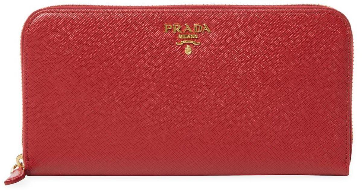 8e36d78eb4ca Lyst - Prada Saffiano Leather Zip Around Wallet in Red