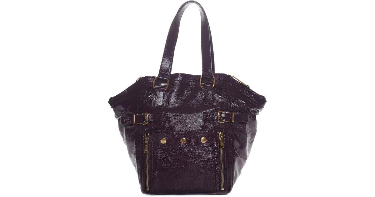 409b3ebc77 Saint Laurent Ysl Purple Patent Leather Downtown Tote in Purple - Lyst