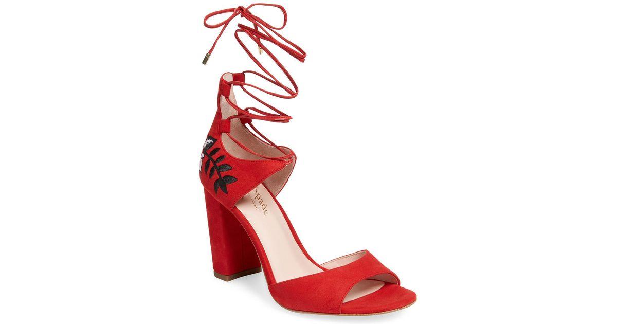 Kate Oasis Sandal Spade Red Heel Lyst High tdxQrsBhC