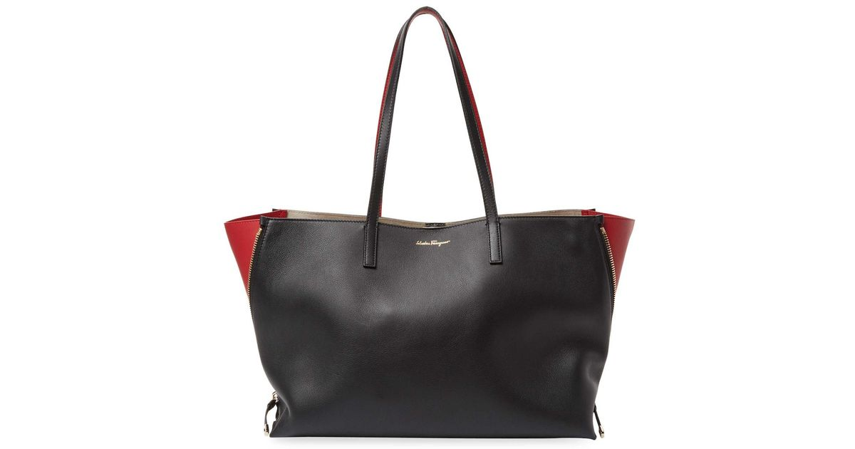 abf6d43e3e8c Lyst - Ferragamo Large Leather Tote in Black