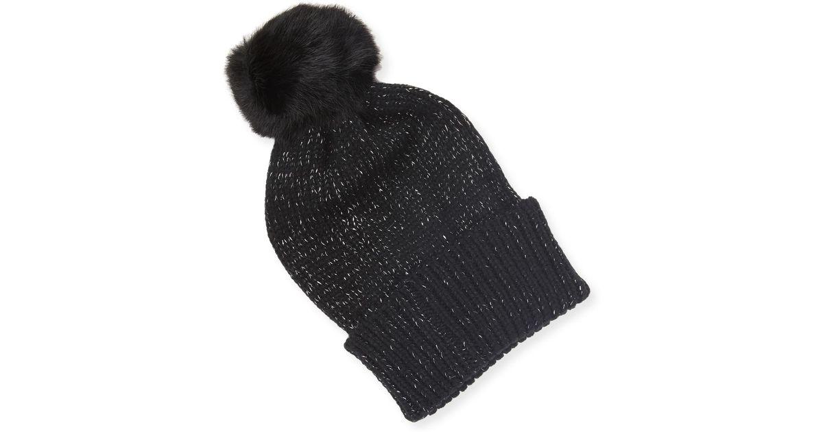Lyst - Adrienne Landau Acrylic Knit Hat W  Pom Pom in Black 24249d527b9b