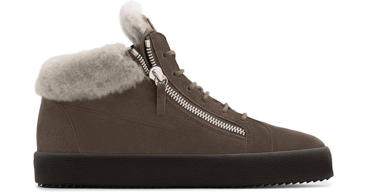 Giuseppe Zanotti Calf suede mid-top sneaker with fur inserts KRISS Qy6QcrK