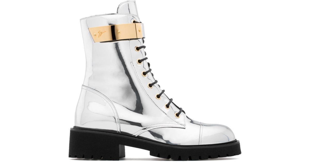 Giuseppe Zanotti Mirrored patent leather boot with plated-metal HARVEY I6Qg4JXF