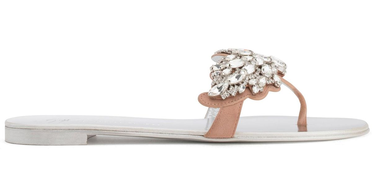 Giuseppe Zanotti Blush suede flat with 'Cruel' crystals accessory CRUEL SPARKLE OVNk5Vntn