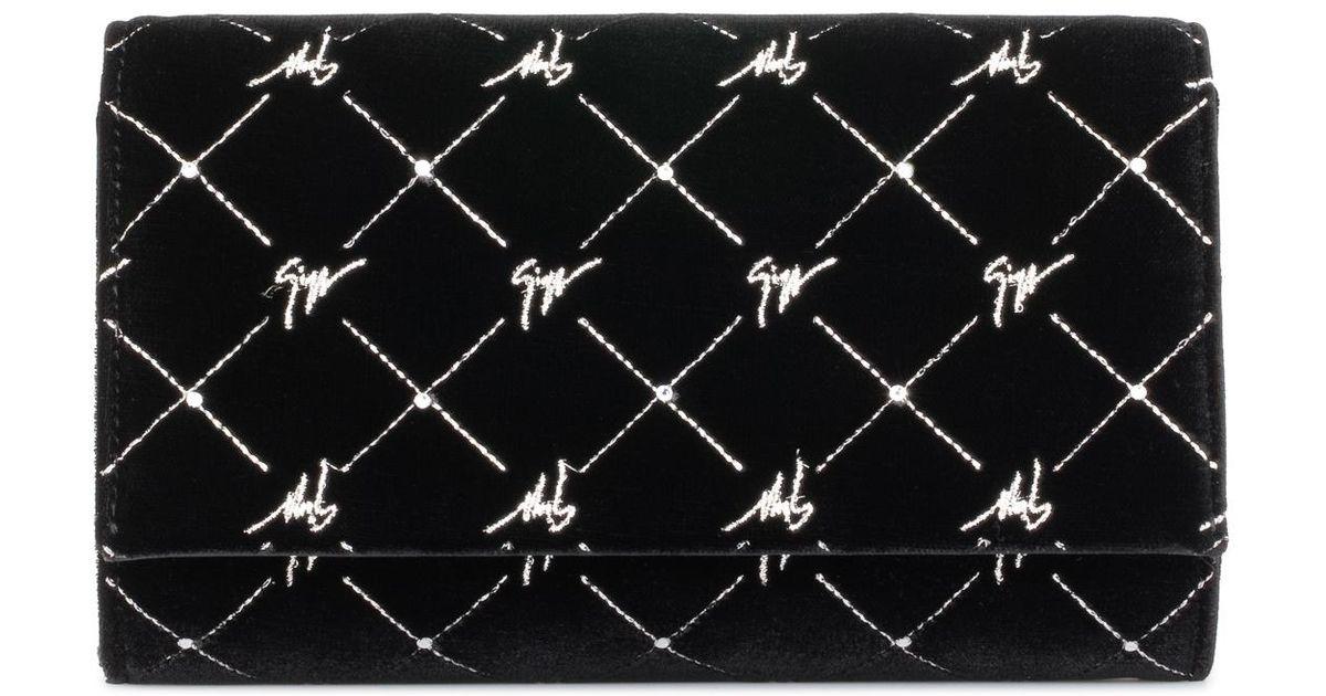 Zanotti Embrayage Giuseppe Velours Noir Avec Motif Logo Royal G dégagement Acheter À Bas Prix Offres C5ydQu