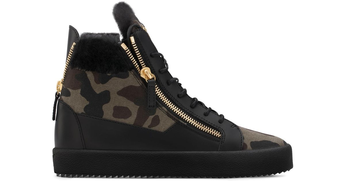 Giuseppe ZanottiCamouflage fabric sneaker with ram fur COLE