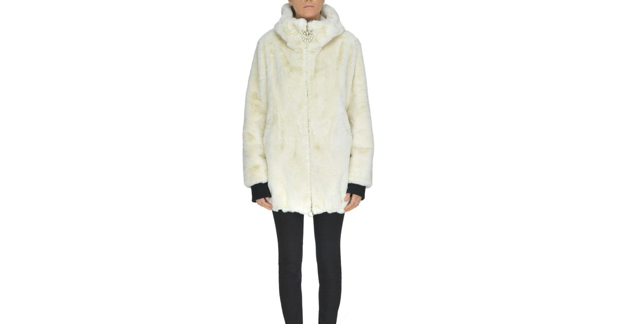 Lyst - Pinko Chirone Eco-fur Coat in Natural 825f34aad57