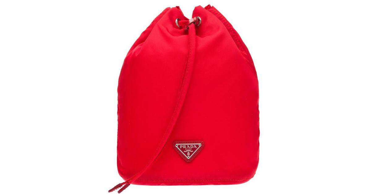 7f72ef208465 Lyst - Prada Vela Bucket Bag in Red