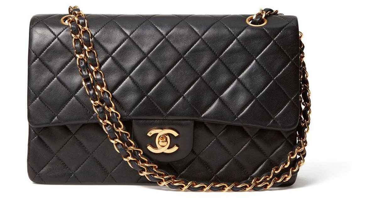 11d2526a1a18 Lyst - What Goes Around Comes Around Chanel 2.55 Lambskin Bag in Black