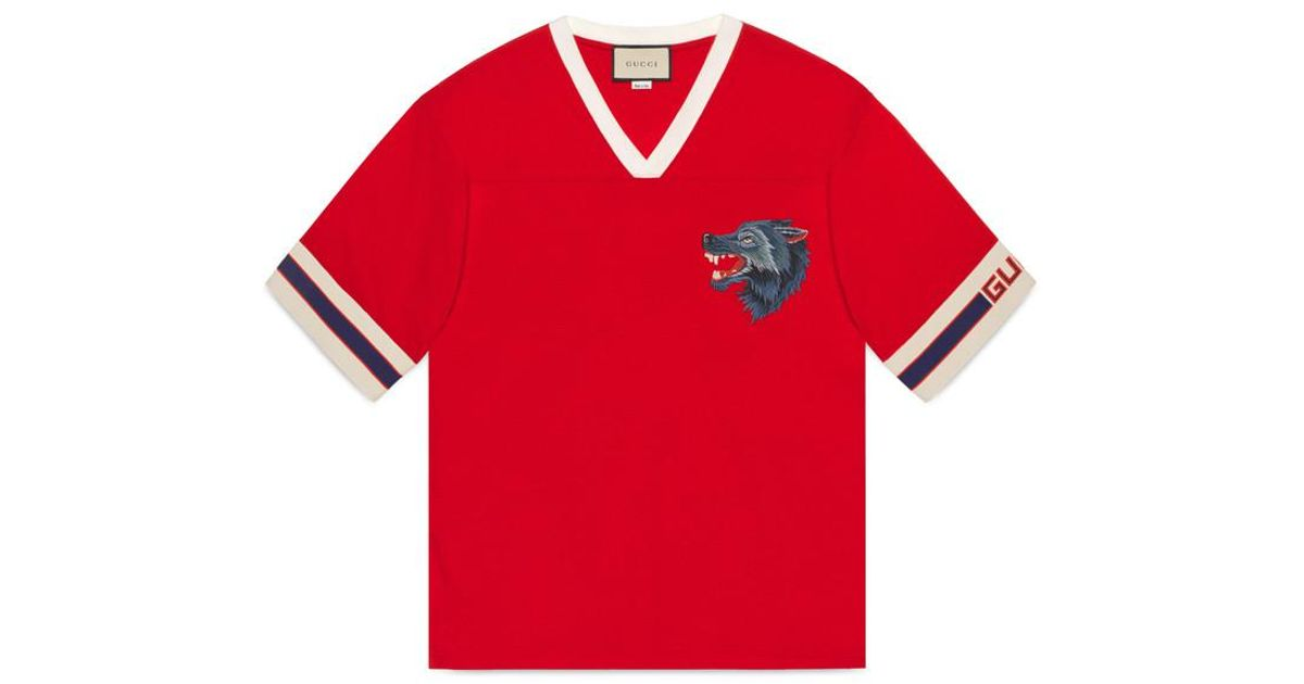 d51e19ce0 Gucci Stripe T-shirt With Wolf Head in Red for Men - Lyst