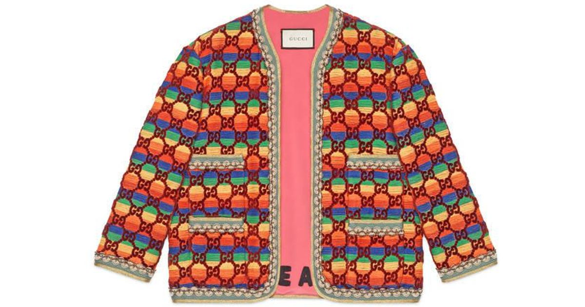 7689b5253 Gucci GG Rainbow Velvet Jacket in Red - Lyst