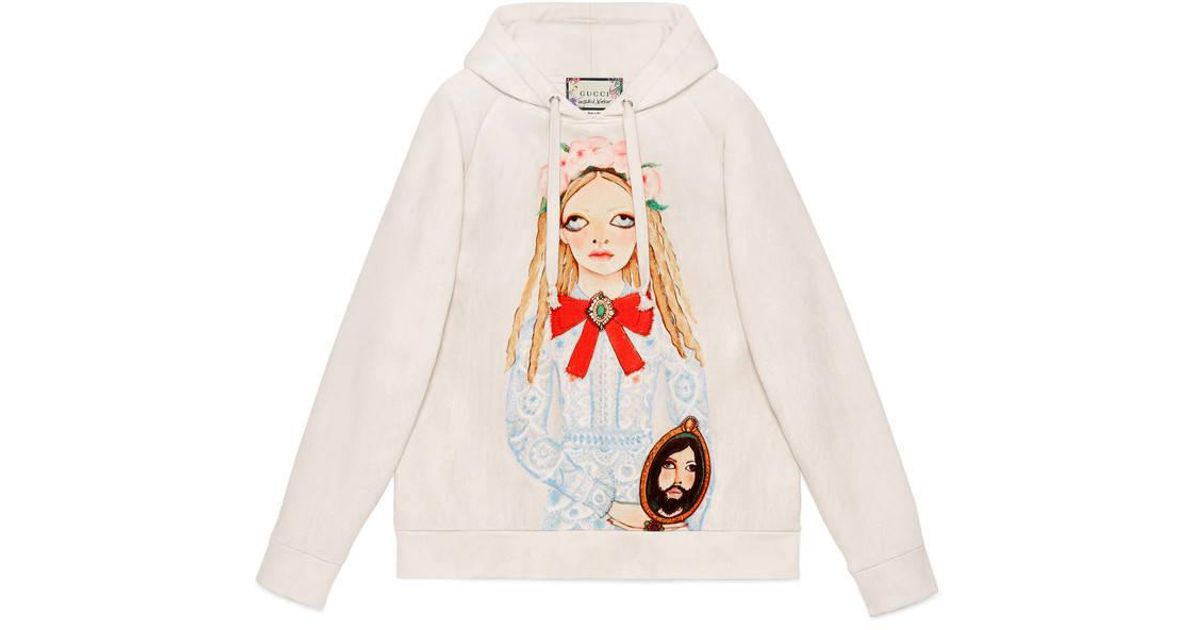 99e0ba953c8fb Lyst - Gucci Unskilled Worker Hooded Sweatshirt in White for Men