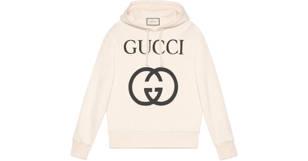 41ada8b15f Gucci Hooded Sweatshirt With Interlocking G in White for Men - Save 40% -  Lyst