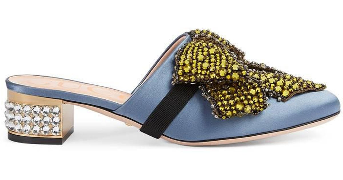 b40defa73a7 Lyst - Gucci Satin Slipper With Removable Crystal Bow in Blue