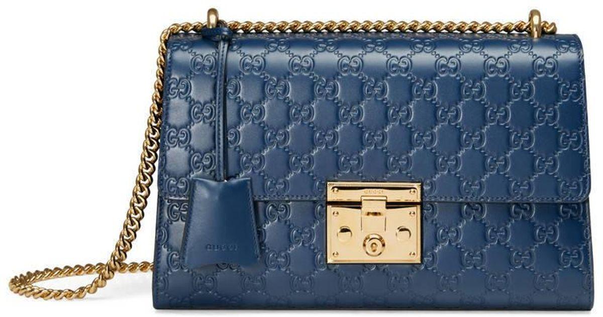 84a25e7b53e Gucci Padlock Signature Shoulder Bag in Blue - Lyst
