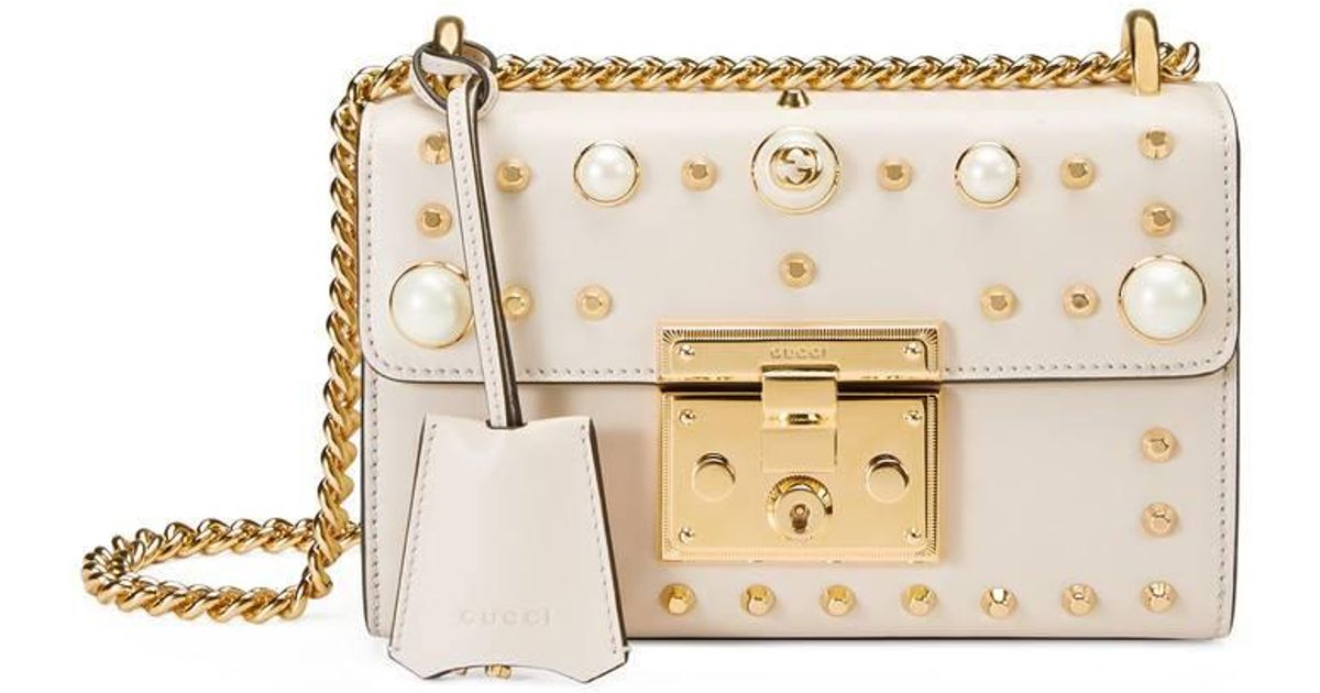 c1977a2ec4c1 Gucci Padlock Studded Leather Shoulder Bag in White - Lyst