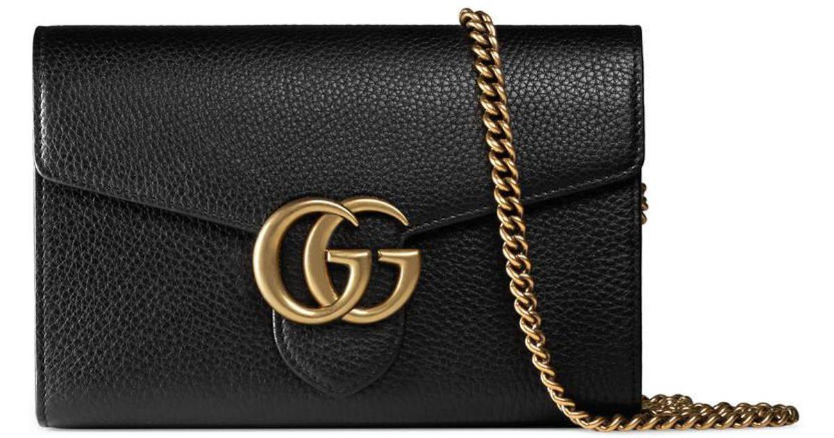 1b6405649971 Gucci Gg Marmont Leather Mini Chain Bag in Black - Lyst