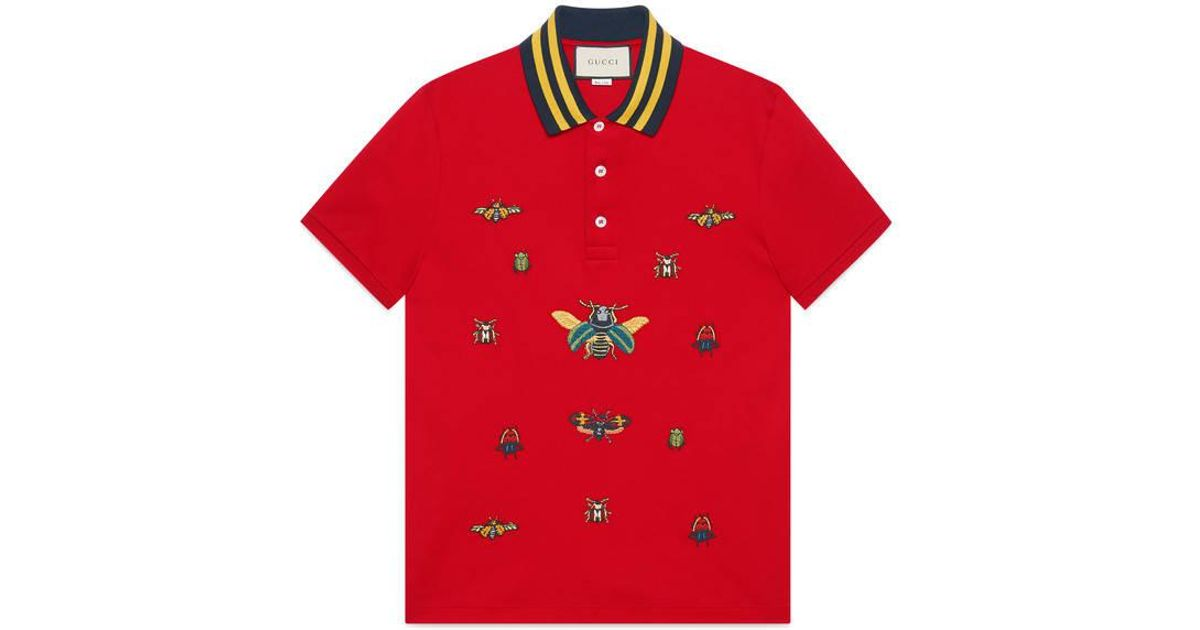 e4702cf5a4e375 Lyst - Gucci Cotton Polo With Insect Embroideries in Red for Men