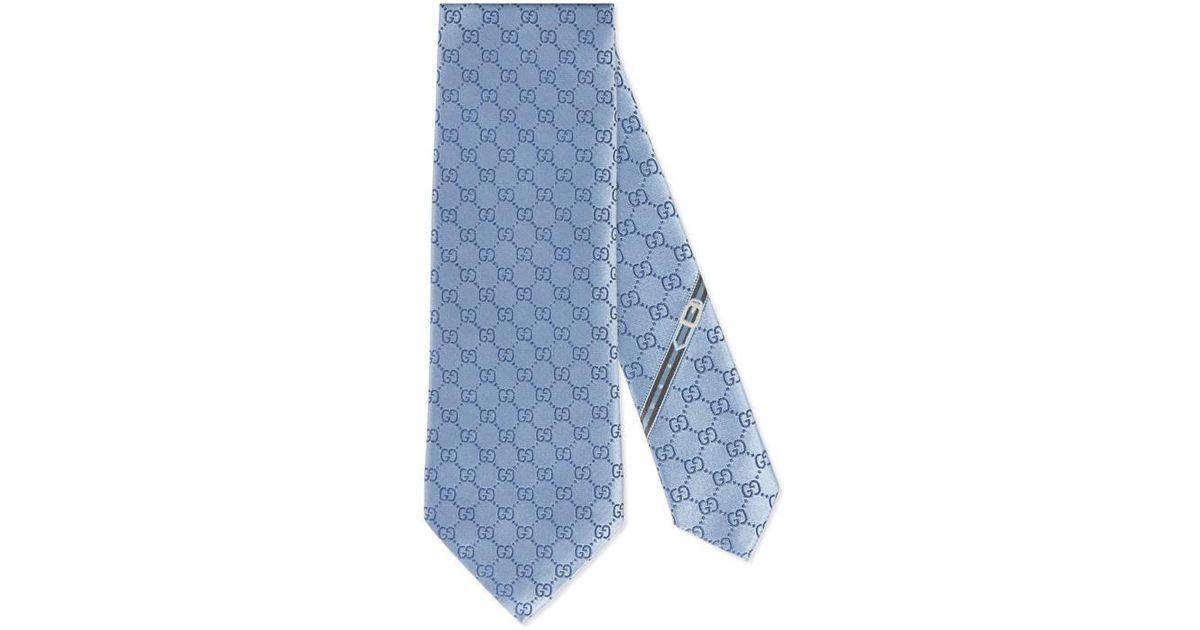 df25e061656 Gucci GG Pattern Silk Tie in Blue for Men - Save 10% - Lyst