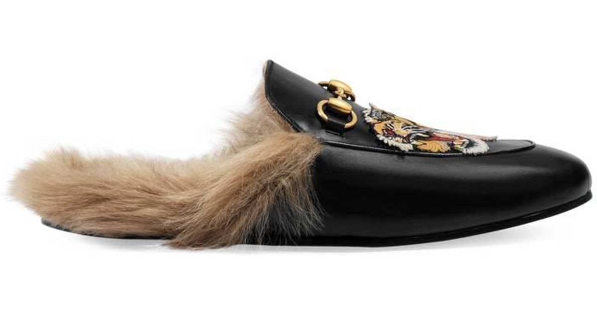 0a454f61db6 Lyst - Gucci Princetown Slipper With Tiger for Men